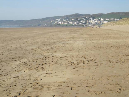 The view along Putsborough beach towards Woolacombe in North Devon